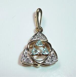 Pendentif 375 or Jaune - en Forme 3 Aigue-Marine + 9 Diamants Neuf