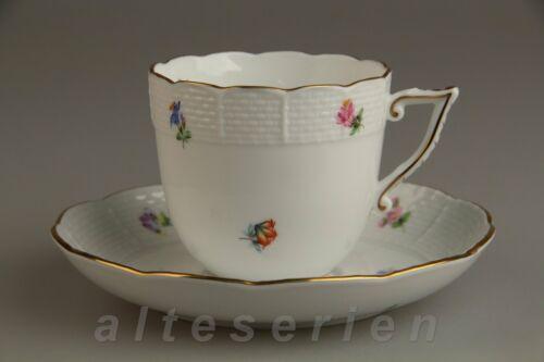 Kaffeetasse mit Untere Modell 706 Herend Ungarn Form Osier Mille Fleurs