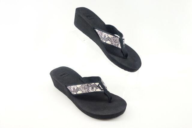TEVA MUSH ll SLIP-ON LIGHT WEDGE SANDALS WOMEN'S Size 9 US Black White Gold