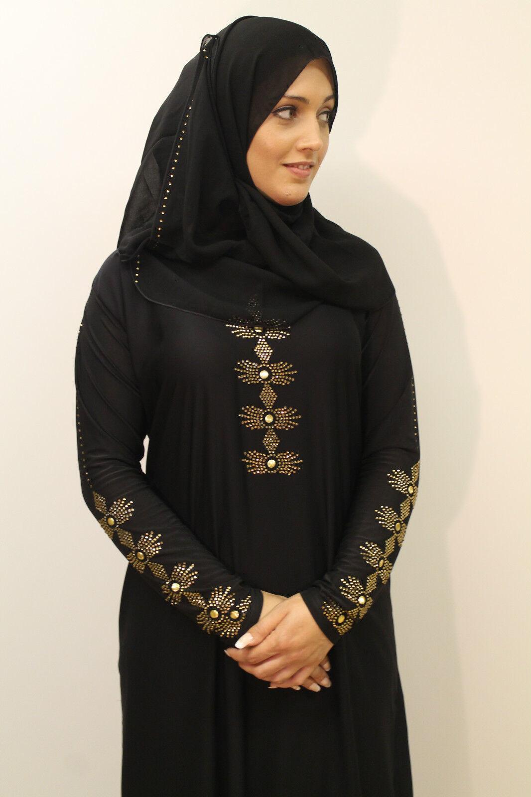 Ladies Sequin Jewel Beaded Embroidery Designer Jilbab Bridal Abaya Hijab Dress