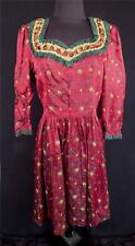 VERY RARE VINTAGE 1940'S FRENCH-ETHNIC RED RAYON & SILK BROCADE DRESS SIZE 10-12