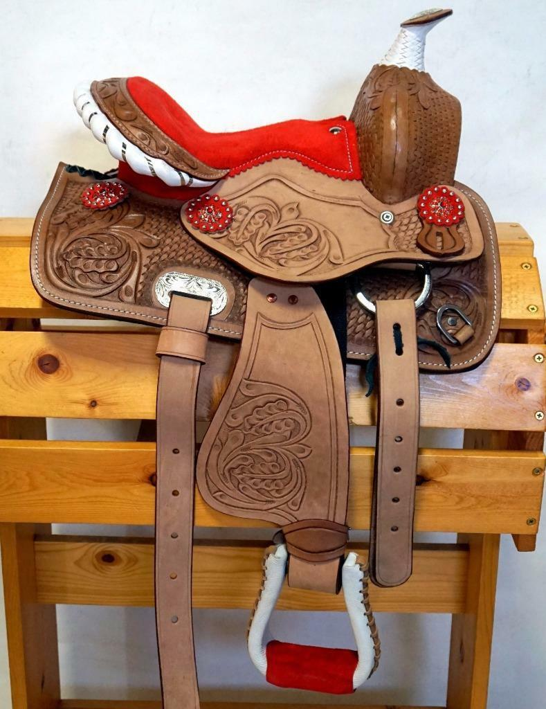 Popular Western Mini Pony Trail Gewehrlauf Sattel 10   12   Rot Wildleder