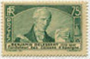 FRANCE-STAMP-TIMBRE-N-303-034-BENJAMIN-DELESSERT-75-C-VERT-034-NEUF-xx-TTB