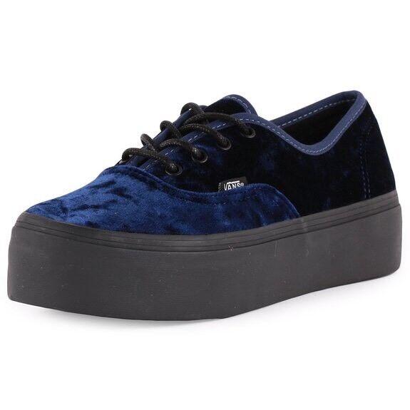 Women's bluee Velvet Platform Vans Sold Out Rare Size UK 4.5 5