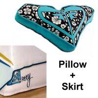 Roxy Flirt Twin Bed Skirt + Alexis Heart Pillow Blue Surf Beach Hawaiian