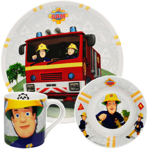 "Geschirrset 3 tlg /"" Feuerwehrmann Sam Jones /"" Trinkta Porzellan // Keramik"