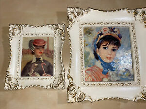 Vintage-TURNER-WALL-ACCESSORY-Paris-Lady-Lot-Of-2-Framed