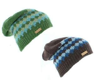 0974c9be6a42bb Kusan 100% Wool Knitted Floppy Beanie Hat (Brown/Green/Mens/Ladies ...