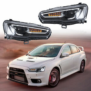 UPGRADED-LED-Headlights-ALL-BLACK-with-Sequential-Turn-Sig-for-08-17-Lancer