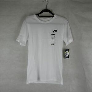 Nike-White-Logo-Gym-Running-T-Shirt-Top-Size-S