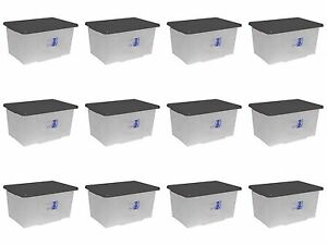Image Is Loading 12 X 50l Large Clear Plastic Storage Bo