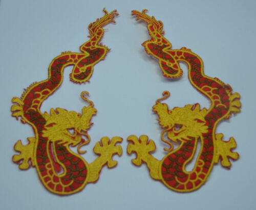 2 Embroidered Iron Sew On Cloth Patch Badge  APPLIQUE A PAIR OF CHINESE DRAGON