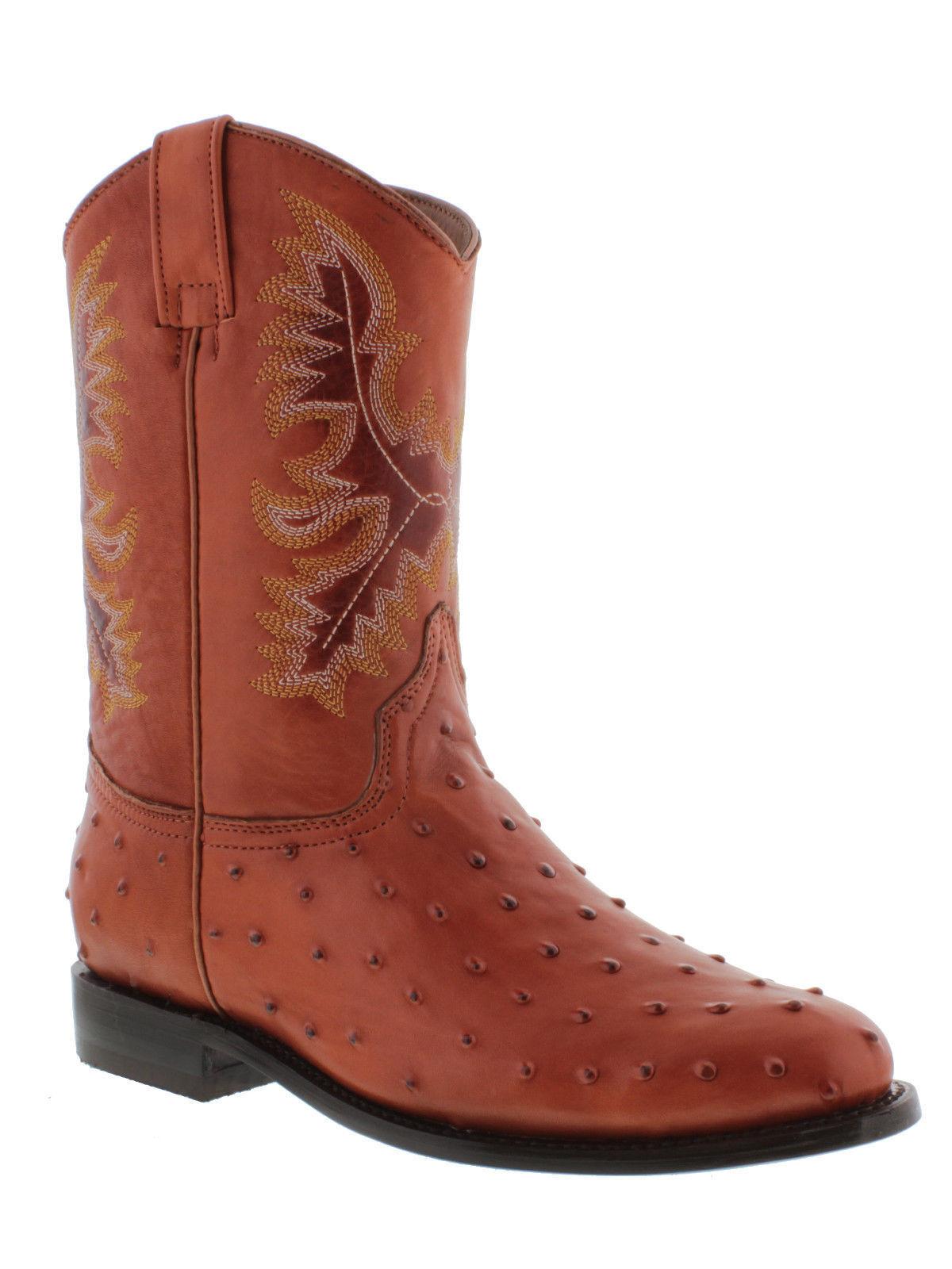 Uomo ostrich cognac brown crocodile western pelle cowboy rodeo boots roper