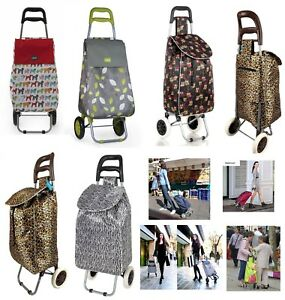 Large Capacity Light Weight Wheeled Shopping Trolley Push Cart Bag With 2 Wheels