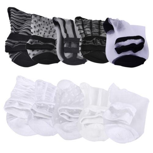 3//5 Paar Mixed Kurz Socken Ultra Dünne Socken Elastisch Klar Glas Seide Socken