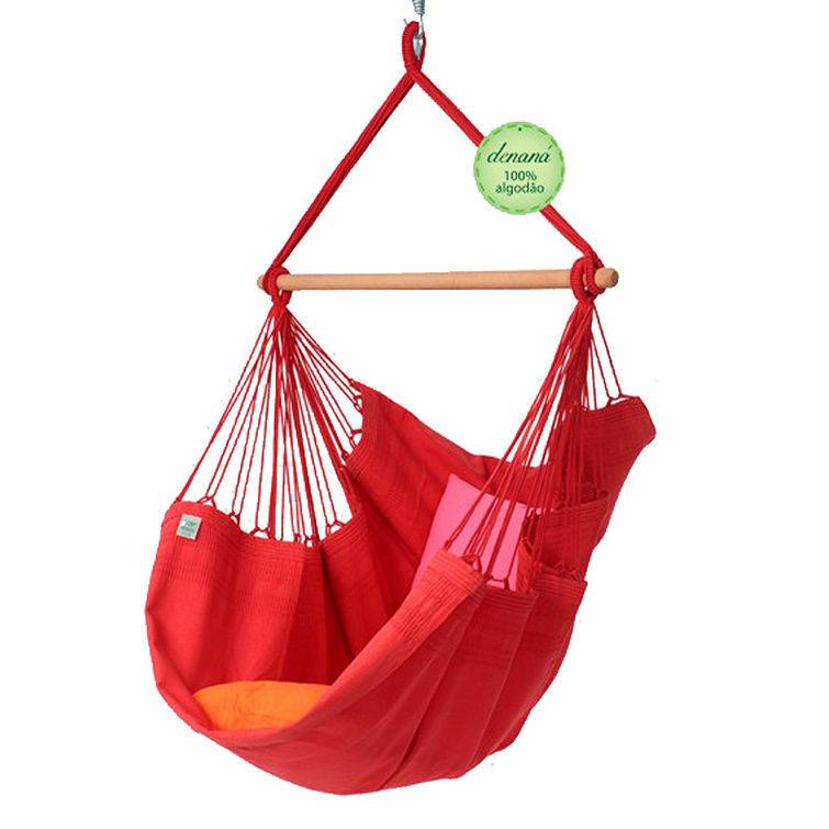 Suspensiva hängesessel vermelha rojo de 100% algodón denana