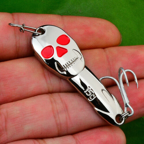 1PC New Skull Fishing Lures Silver//Gold Spoon Baits Fishing bait Fishing Tackle