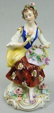 Antico Sitzendorf porcellana figura di una ragazza raccogliere fiori C.1910