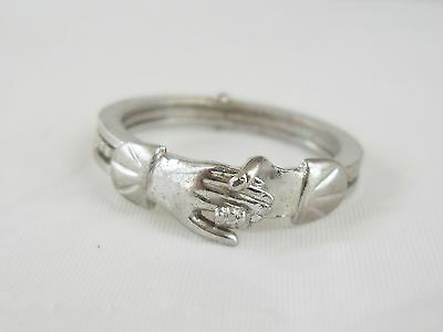 Vintage Fede Gimmel Clasping Hands Articulated Victorian Inspired Sterling Ring