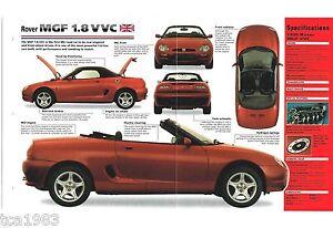 1995 1996 rover mgf 1 8 vvc spec sheet brochure flyer photo 39 s ebay. Black Bedroom Furniture Sets. Home Design Ideas