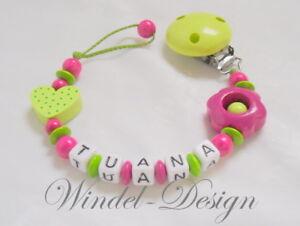 Schnullerkette Mit Namen Mädchen Blume Herz Grün Pink Baby Geschenk