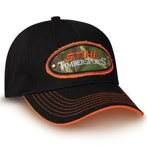 4de07690a11 Image is loading STIHL-Chainsaws-BLACK-TIMBERSPORTS-PATCH-LOGO-HAT-CAP-
