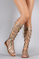Gold Gladiator Sandals Knee High Lace Up Tie Flat Roman Women's Shoes