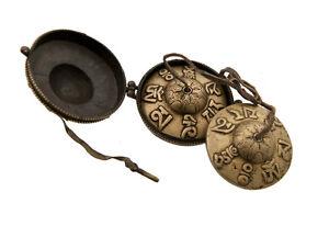 Piatti Tibetano Con Custodia Rame Simboli Amore Modello Antico 5840 X5B