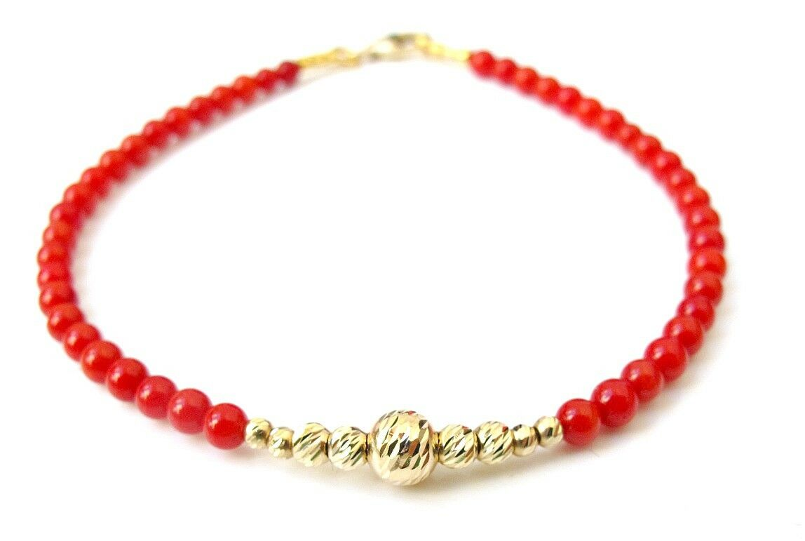 14 K solid gold diamond cut bead red coral gem natural bracelet