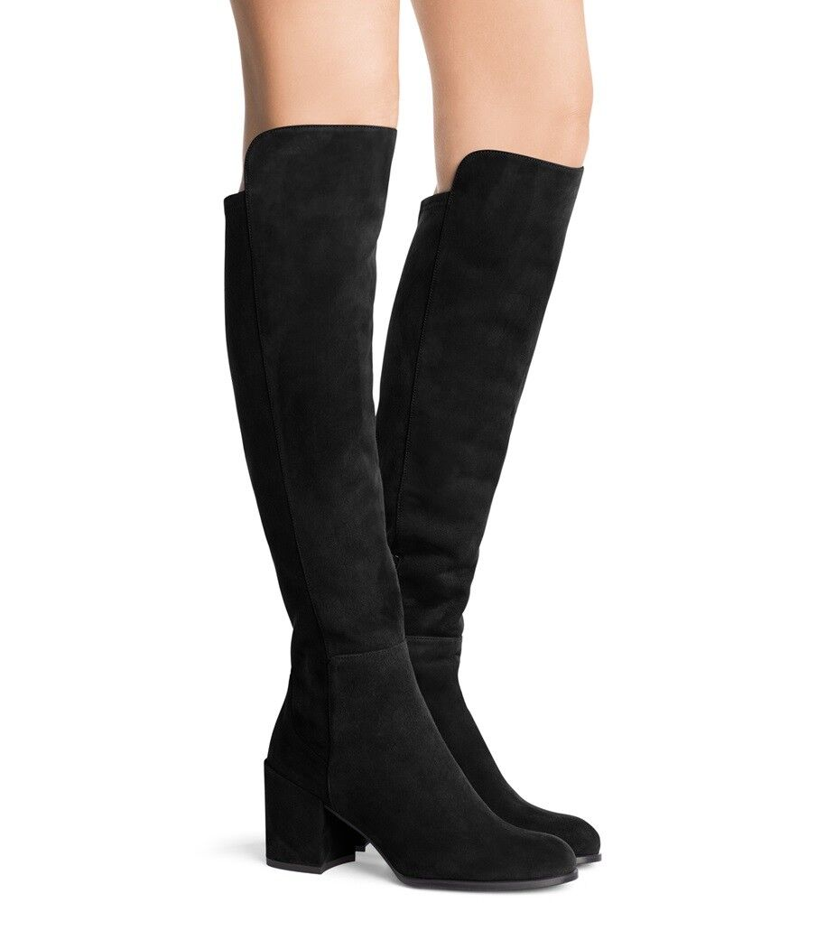 $765 Stuart Weitzman Alljack 5050 Over Knee Boots Black Suede  Booties Shoe 10.5