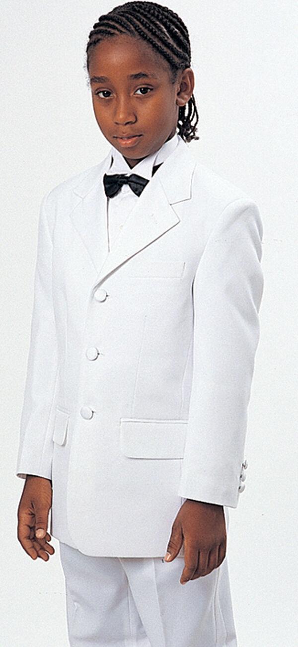 Boys White Special Occasion Formal Single Button Tuxedo Suit Set 4-14
