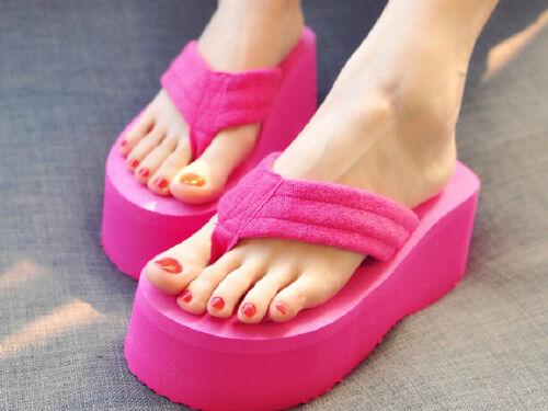 Womens Sweet Wedge Thick Platform High Heel Flip Flops Seabeach Sandals Shoes