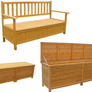 auflagenbox holz gartentruhe kissenbox holztruhe holzbank truhenbank bank box ebay. Black Bedroom Furniture Sets. Home Design Ideas