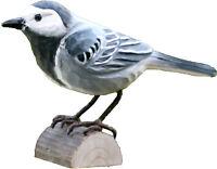 Bachstelze  handgeschnitzter Vogel  Holz Wildlife Garden