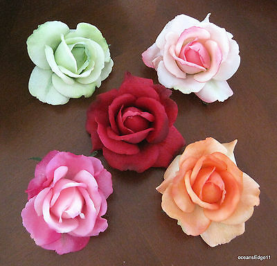 "5 Piece Romantic Real Touch Rose Lot,4"" Poly Silk Flower Hair Clips,Pin Up,Updo"
