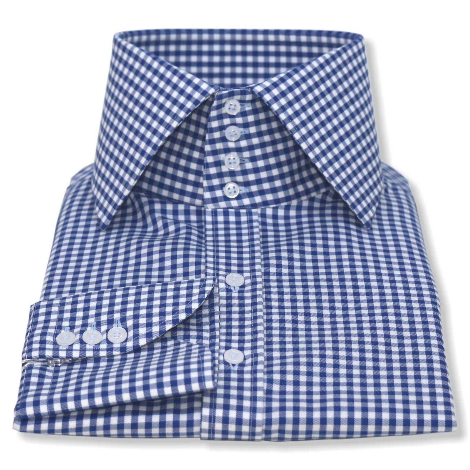 Herren Stehkragen Hemden Blau Karos Mehrere Knöpfe 100% Cotton Herren     | Hat einen langen Ruf