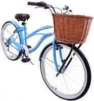 "LADIES BICYCLE USA 19"" BEACH CRUISER CLASSIC CALIFORNIA STYLE & BASKET BLUE"