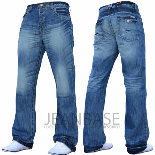 Da Uomo Bootcut Svasato Basic Plain Jeans Gamba Larga Pantaloni DARK /& light wash jeanbase