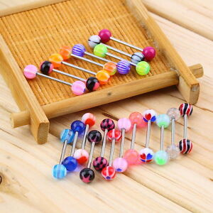 20 Tongue Ring Assorted Surgical Steel Piercing Barbells Nibble Bars 14 Gauge F#