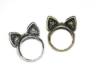KITTY-CAT-EARS-RING-Gold-Or-Silver-Tone-NEW-GIFT-BOXED-Cute-Animal-Quirky-Indie