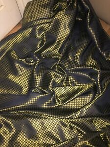 "1 MTR NEW NAVY BLUE//GOLD BROCADE JACQUARD FABRIC..45/"" WIDE"