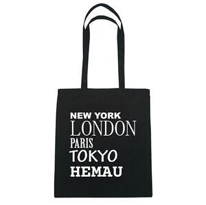 New York, London, Paris, Tokyo HEMAU - Jutebeutel Tasche - Farbe: schwarz
