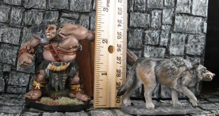 Painted Huge Hill Giant   Ogre Beastmaster and Wolf Free US Shipping