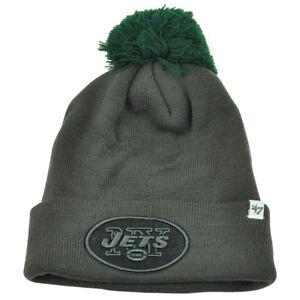 8f2f157d7d0 NFL  47 Brand New York Jets Justus Charcoal Pom Cuffed Knit Beanie ...