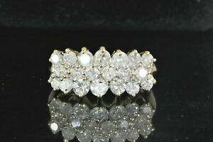2-150-14K-Yellow-Gold-3-Row-1-50ct-Round-Diamond-Cocktail-Ring-Band-Size-7