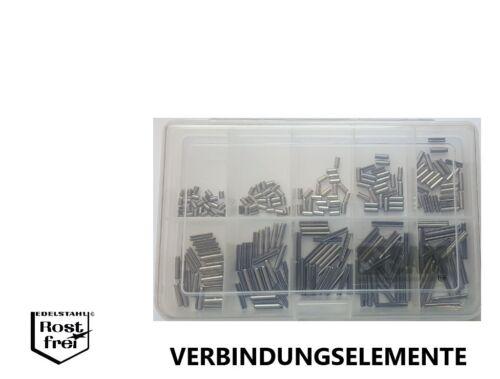 Serrage plumes Assortiment//Set DIN 1481 250 Pièces En Inox 1.4310 Ø 2,5