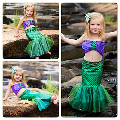 Baby Girls Full Mermaid Set Costume Little Mermaid Bikini Swimwear Swimsuit