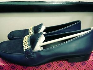 4cf4bda778e3 New  325 Tory Burch Gemini Royal Navy Link Leather Calf Hair Loafer ...