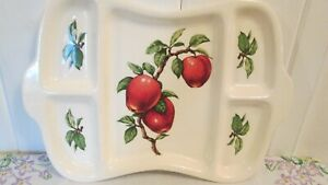 Red-Apples-Divided-Serving-Tray-Crooksville-Vintage-10-1-2-034-x-14-1-2-034-White