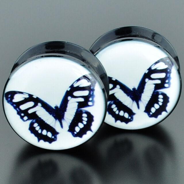 Pair Acrylic Ear Gauges Plugs Flesh Tunnels Expanders Screw Butterfly Effect